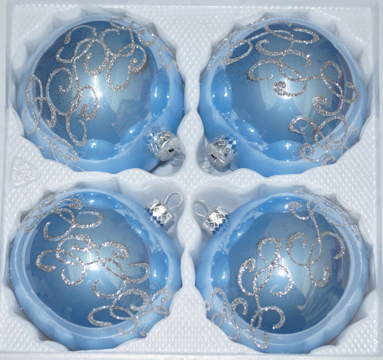Silberne Weihnachtskugeln.4 Pcs Christmas Baubles Set 10cm O In Highgloss Blue Silver Ornaments