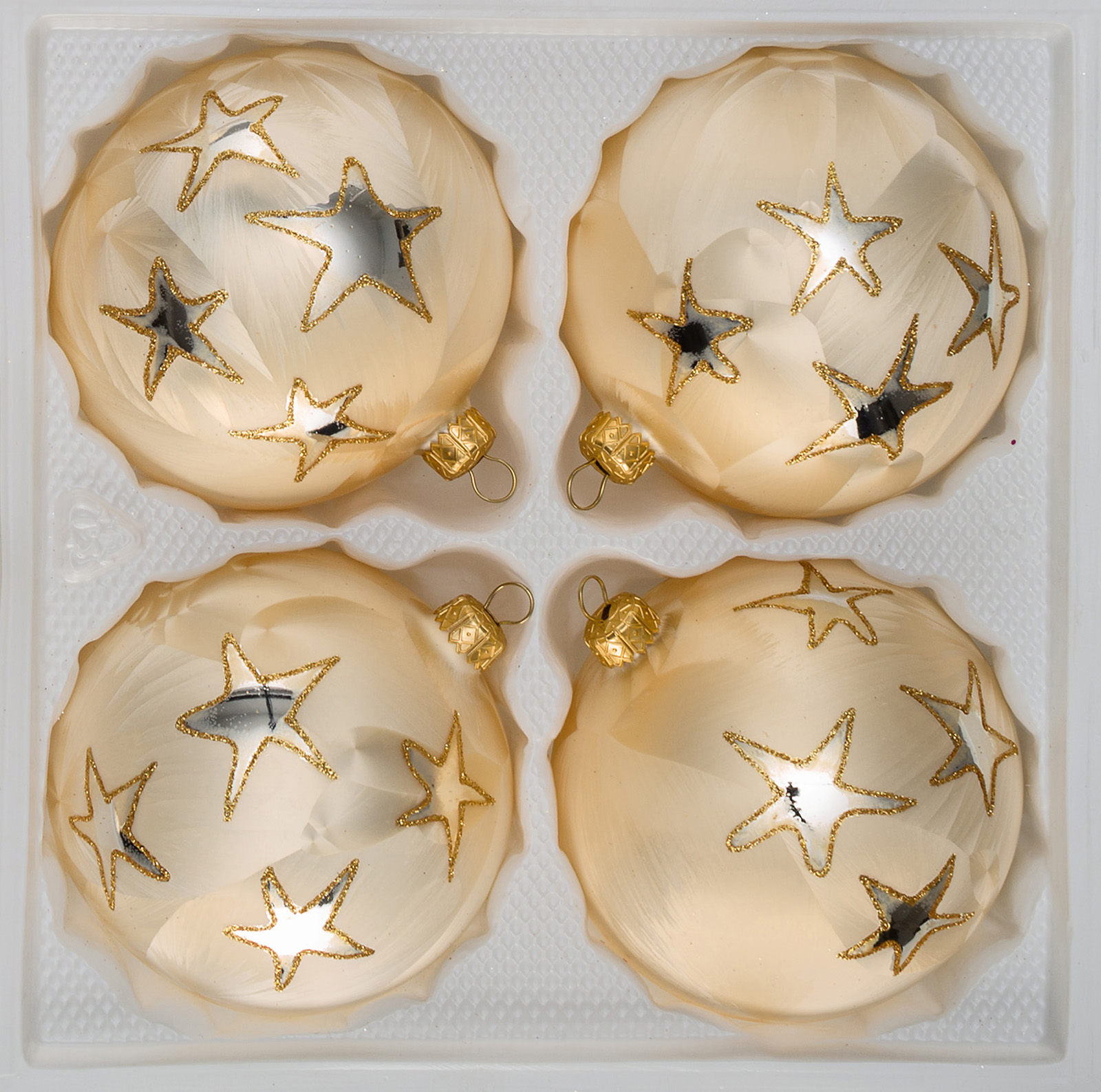 Christbaumkugeln Glas Rot Gold.4 Pcs Christmas Baubles Set 10cm O In Ice Champagne Gold Golden Star