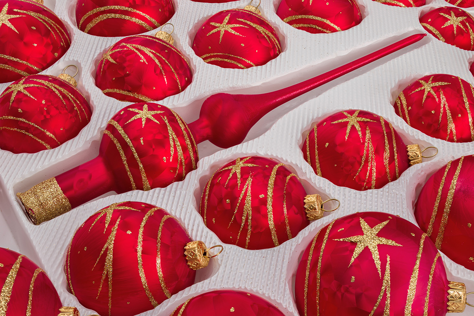 Christbaumkugeln Glas Rot Gold.39 Pcs Christmas Baubles Set In Ice Red Gold Comet